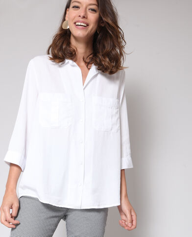 Oversized soepel overhemd gebroken wit