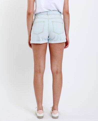 Short en jean brodé bleu clair