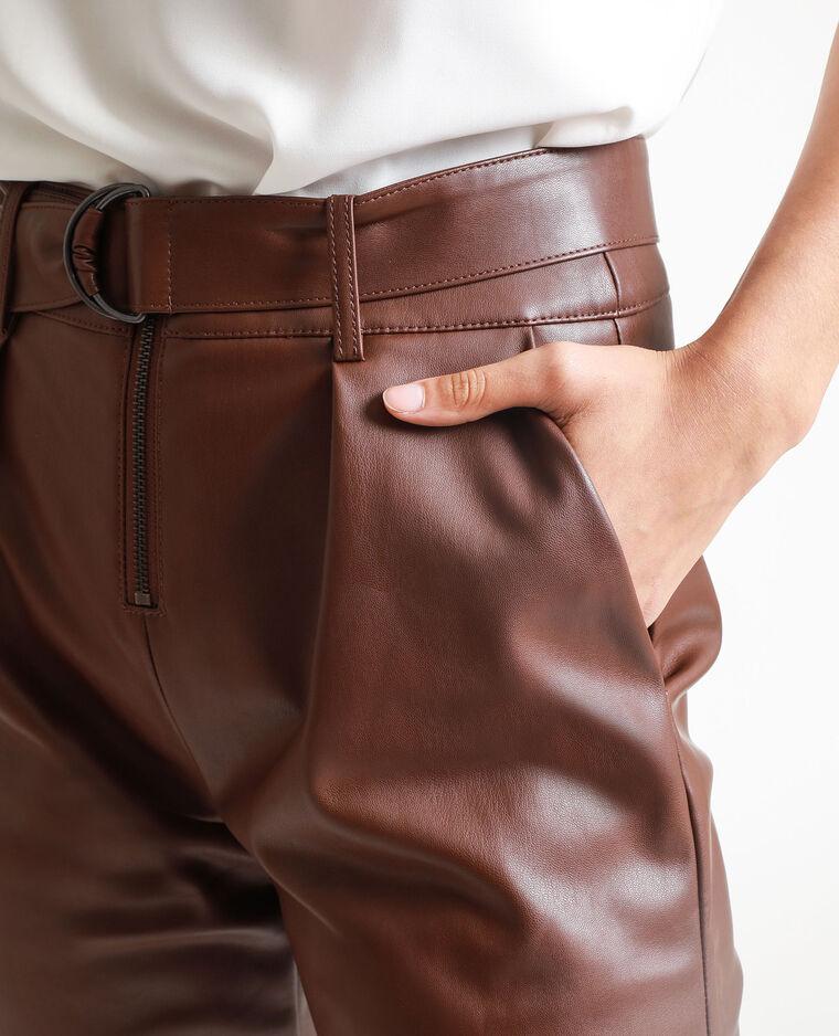 Pantalon en faux cuir marron