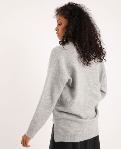 Pull grand col V gris clair chiné
