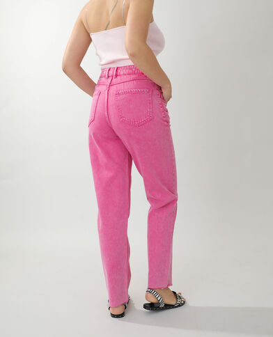 Straight-fit jeans met hoge taille roze - Pimkie