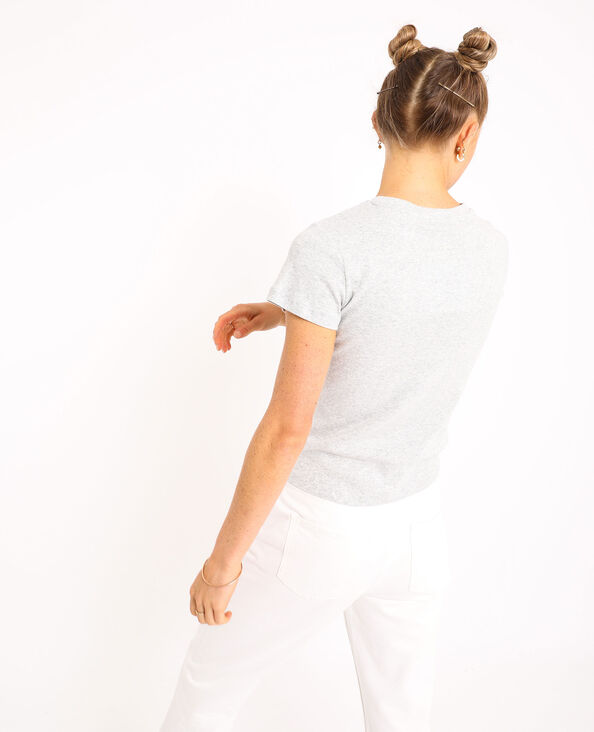 Basic T-shirt gemêleerd grijs