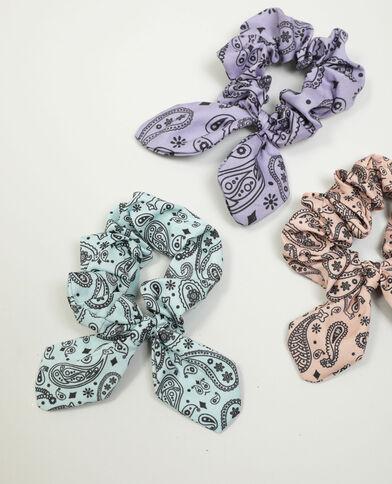 Set van 3 scrunchies met paisleyprint Roze - Pimkie