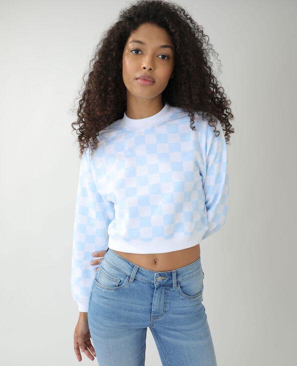 Molton sweater met ruitjes gebroken wit - Pimkie