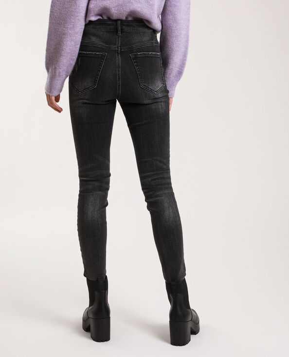 Verwassen skinny jeans met hoge taille zwart
