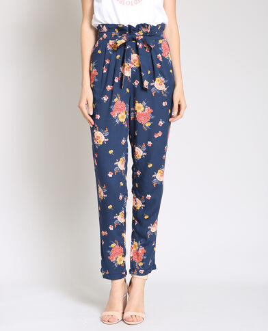 Soepelvallende broek met print marineblauw