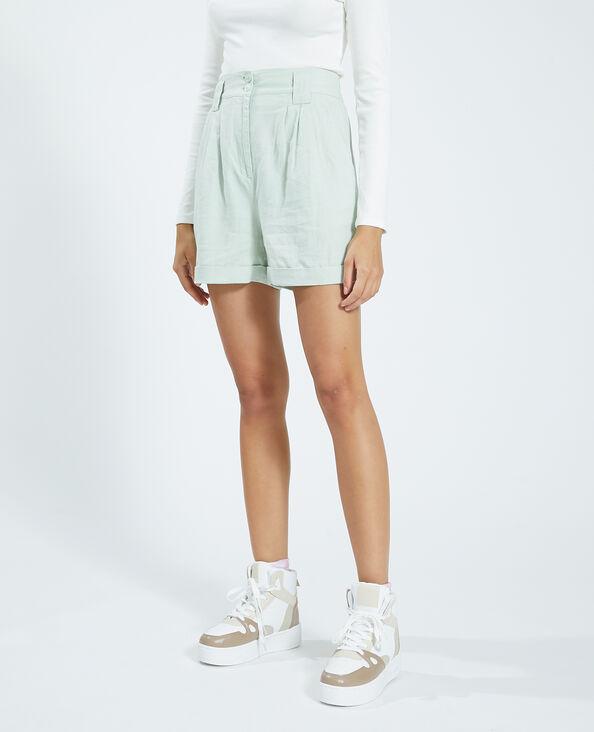 Rustieke short met hoge taille groen - Pimkie