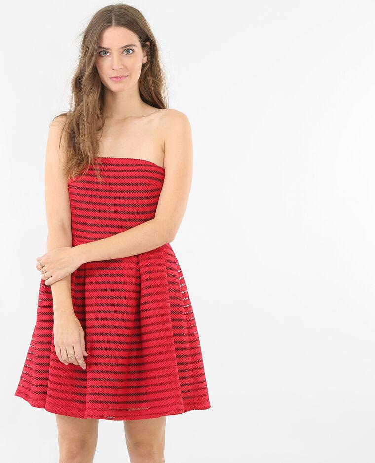 86706d66a1c118 Opengewerkte strapless jurk Rood - 780520342A08