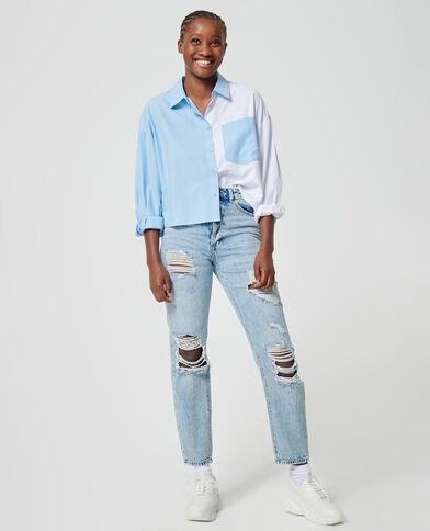 Straight-fit jeans met hoge taille en destroyed effect Lichtblauw - Pimkie