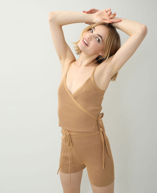 Top cache-cœur tricot beige sable - Pimkie