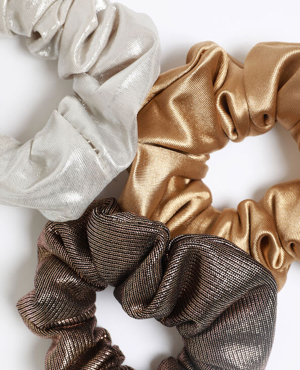 - Set van 3 glanzende scrunchies. goudkleurig
