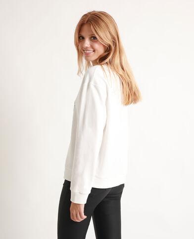 Sweater met print gebroken wit