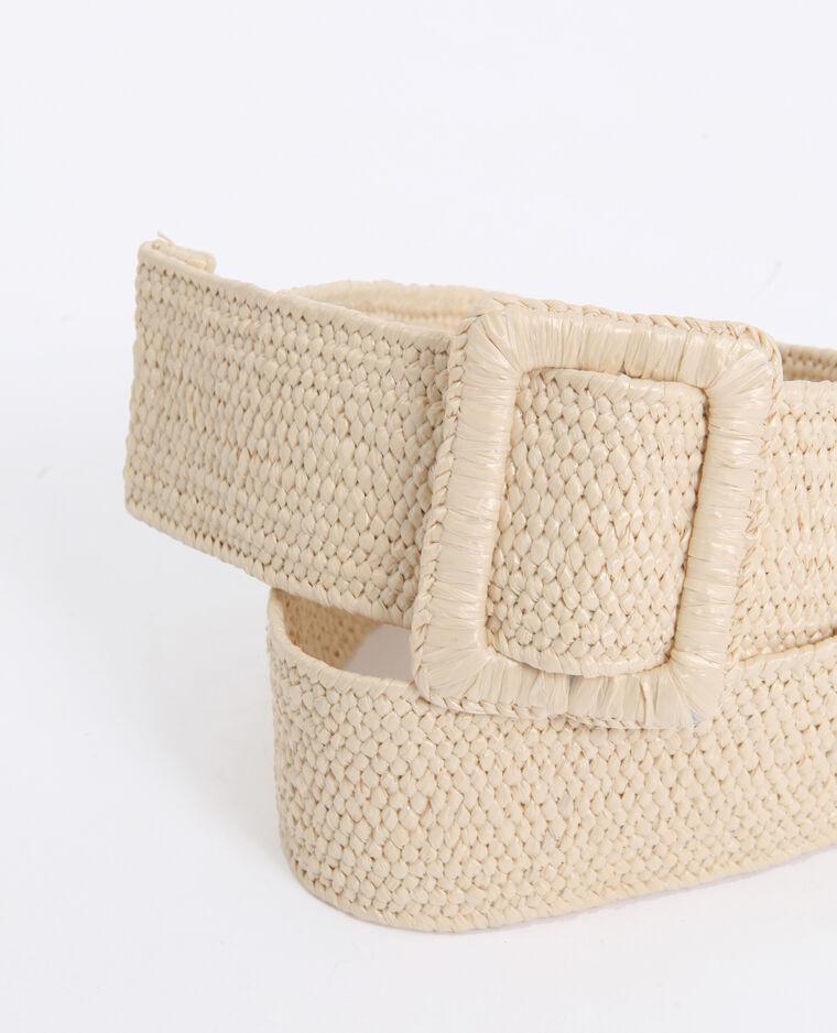 Brede riem van stro beige
