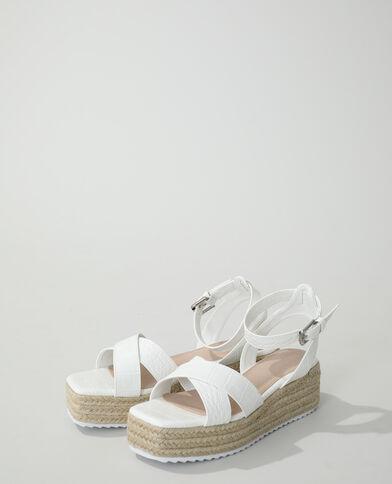 Sandalen met sleehak en krokodillenleereffect wit - Pimkie