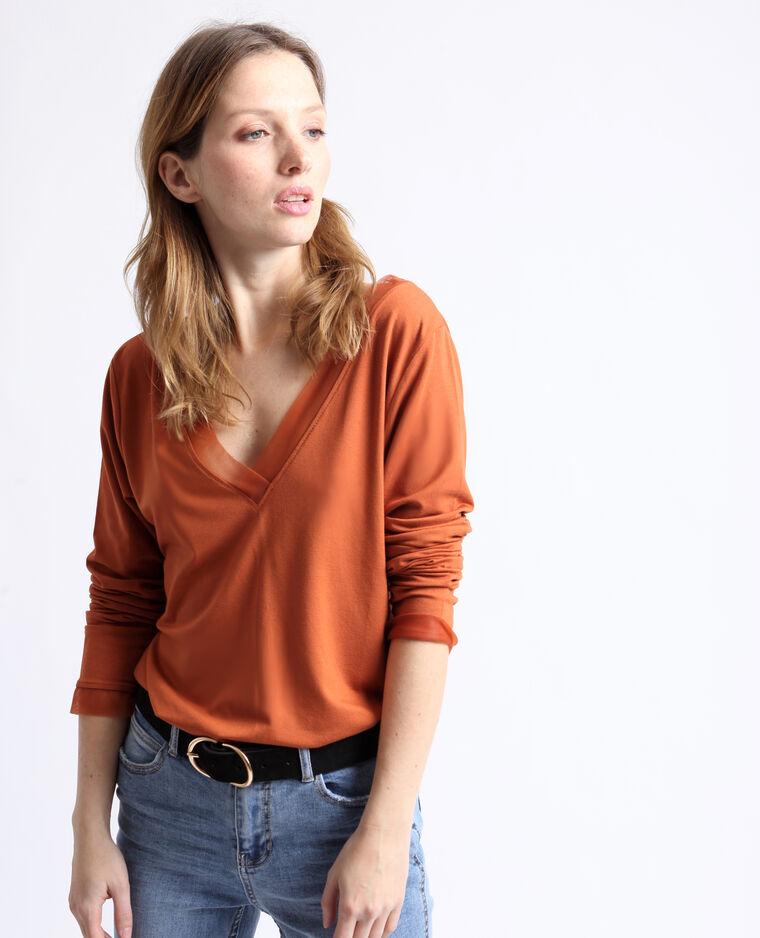 T-shirt à col V rouille