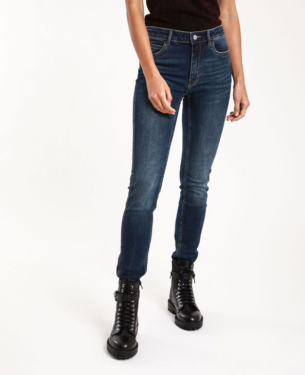 Push-up jeans met middelhoge taille donkerblauw