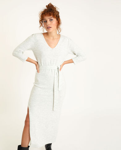 Lange trui-jurk gemêleerd grijs