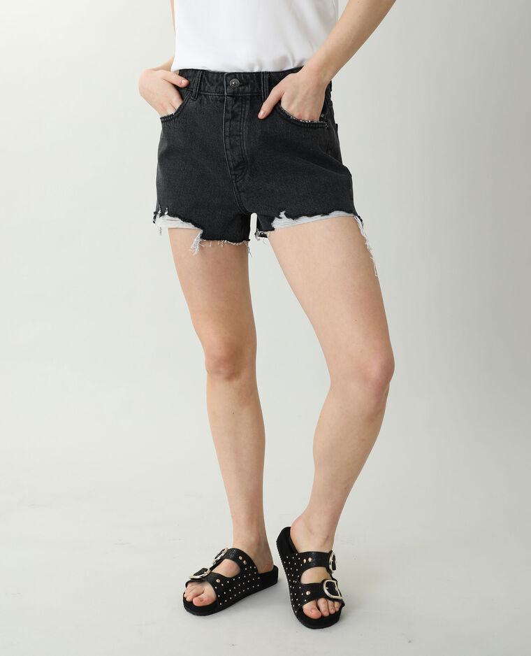 Destroyed jeansshort met hoge taille zwart - Pimkie