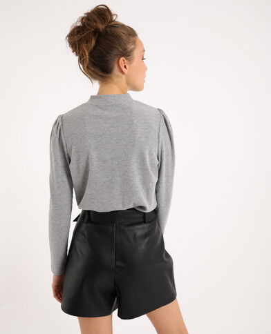 T-shirt met pofmouwen gemêleerd grijs