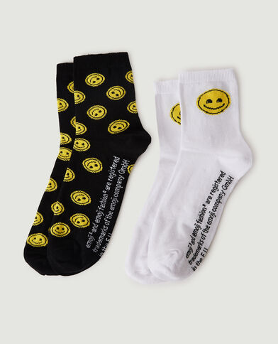 Set van 2 paar Smiley-sokken zwart - Pimkie