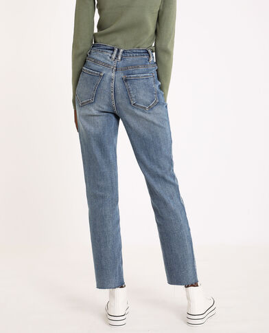 Straight-fit jeans met hoge taille denimblauw
