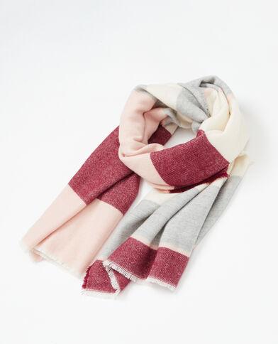 Plaidsjaal met brede strepen bleekroze