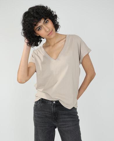 Basic oversized T-shirt taupe - Pimkie