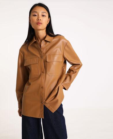 Oversized hemd van kunstleer karamel