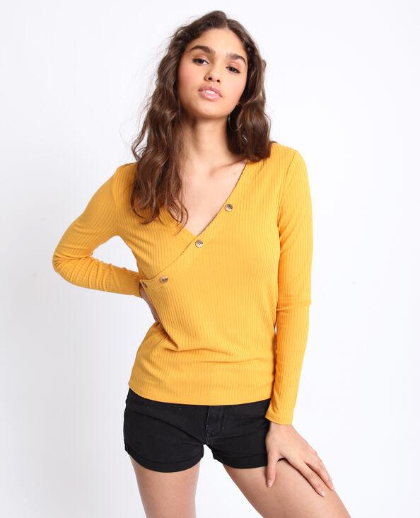 T-shirt en maille cotelée jaune
