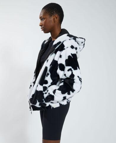 Manteau court fluffy vachette noir - Pimkie