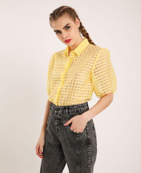 Overhemd met pofmouwen geel