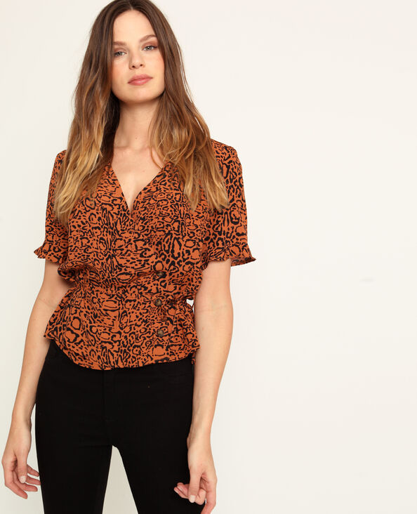 Shirt met luipaardprint kastanjebruin