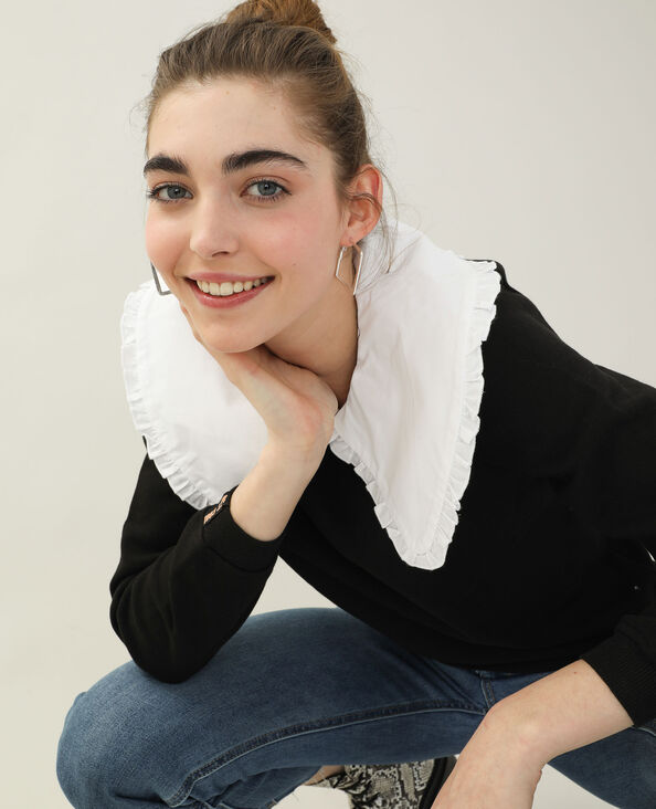 Sweater met grote claudinekraag zwart - Pimkie