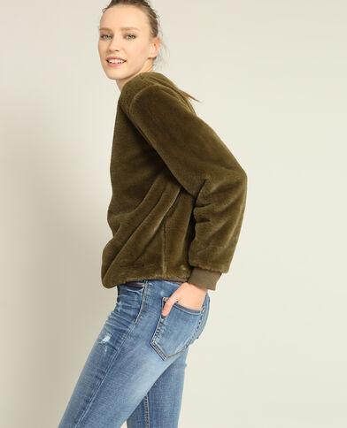 Sweater van imitatiebont kaki