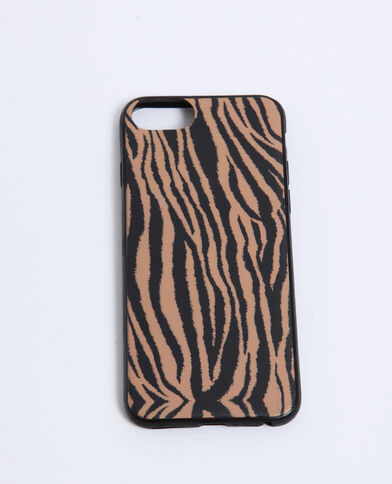 Coque compatible iPhone zébrée marron