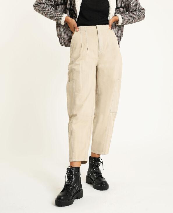 Slouchy broek van jeansstof ecru - Pimkie