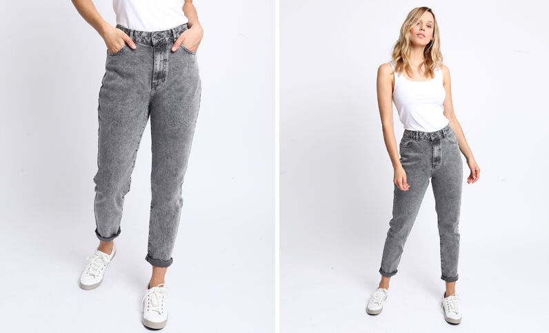 Jean taille haute gris