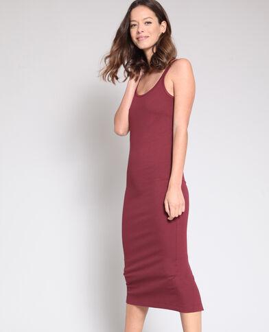 Mouwloze jurk bordeauxrood