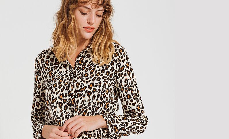 Blouse met luipaardprint zwart
