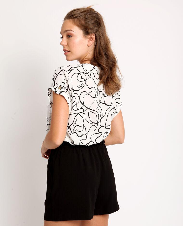 Bedrukte blouse gebroken wit