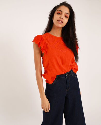 Blouse brodée orange