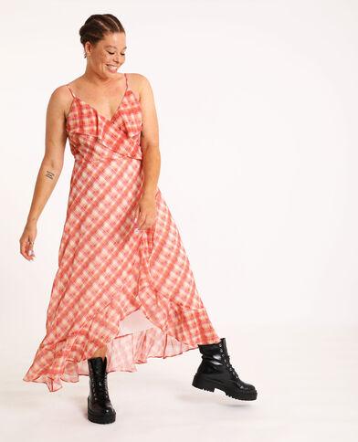 Lange jurk met ruitjes wit