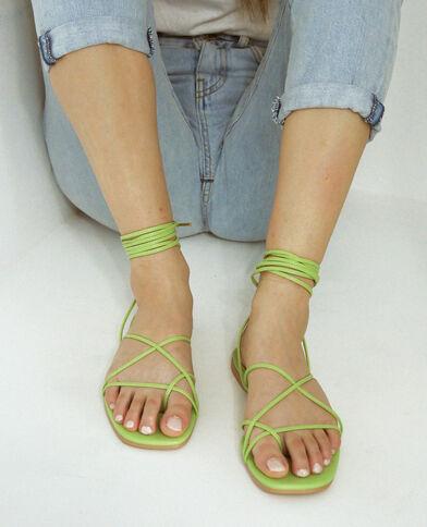 Sandales à lacets vert