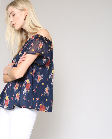 Shirt met bloemenprint en bardothals marineblauw