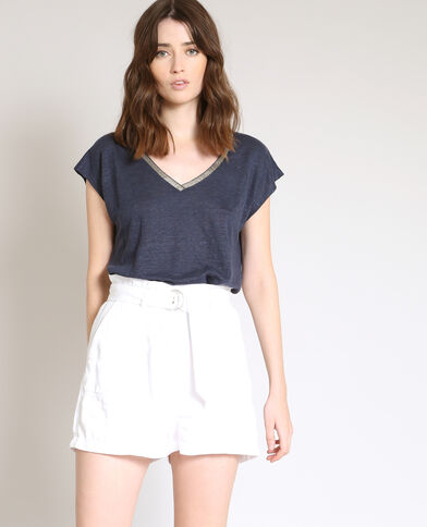 T-shirt van linnen marineblauw