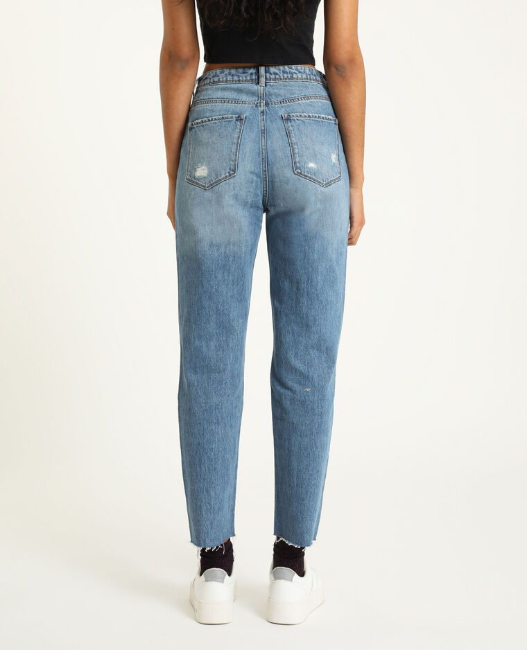 Jean straight traché bleu denim