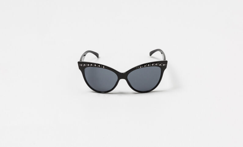 Zonnebril met kattenoogjes zwart