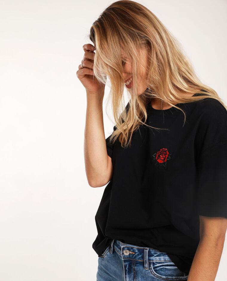 T-shirt met patch zwart