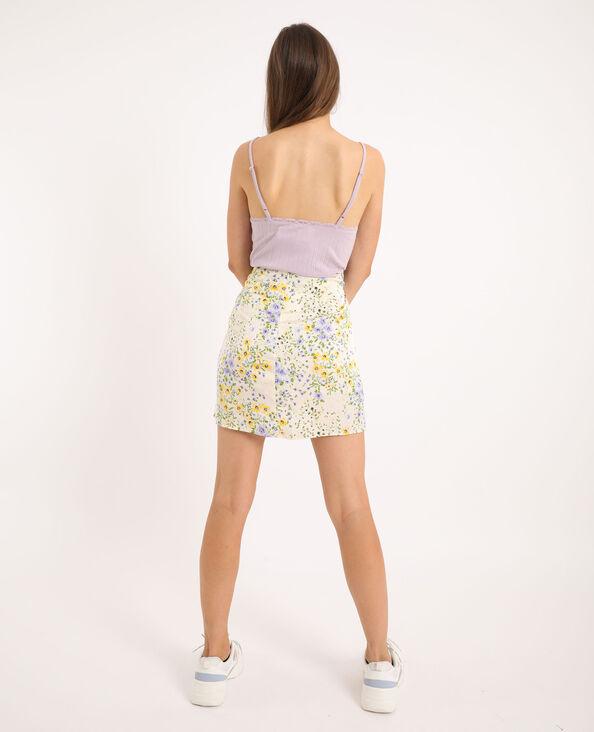 Korte rok met bloemenprint gebroken wit