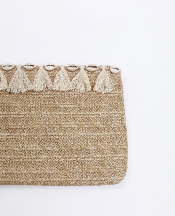 Enveloptasje van stro geweven beige